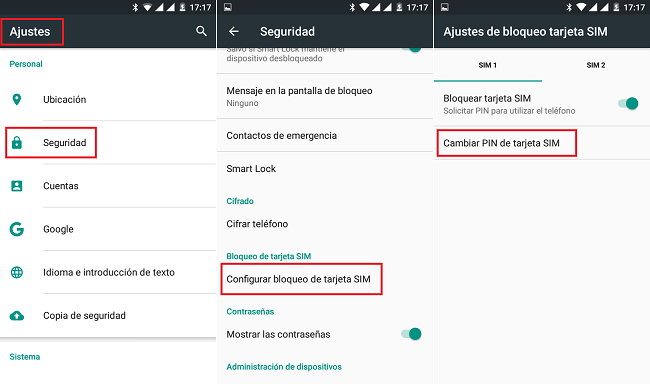 Android-CambiarPIN